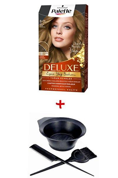 Palette Deluxe Saç Boyası 8-01 Küllü Açık Kumral + Boyama Seti