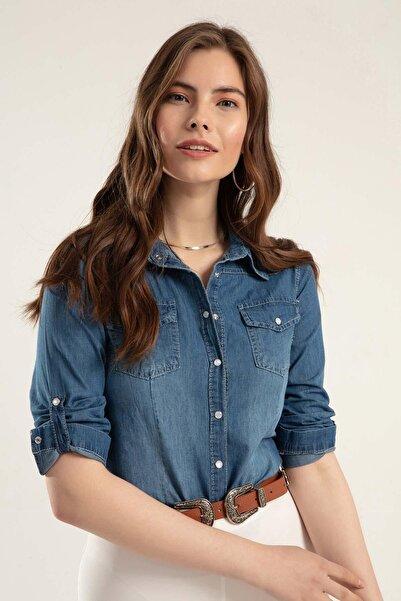 Pattaya Kadın Basic Kot Gömlek Y20s110-3411
