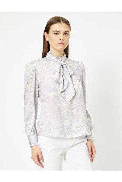 Kadın Uzun Kollu Desenli Fular Detayli Bluz