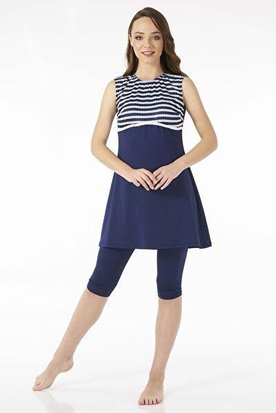 Estiva Denizci Lacivert Kolsuz Taytlı Elbise Mayo