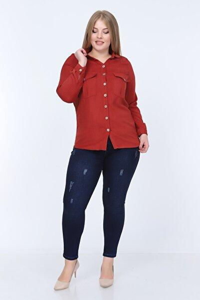 RMG Kadın Kiremit Cep Detaylı Kadife Gömlek 6771