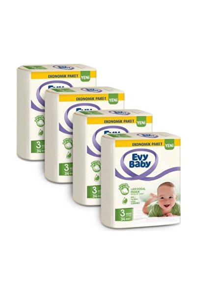 Evy Baby Bebek Bezi 3 Beden Midi 34'lü x 4 Adet