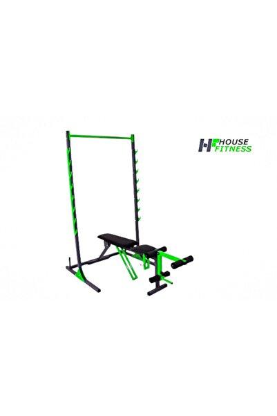 House Fitness Ayarlanabilir Mekik, Bench Press Sehpası Ve Halter Squat Rack Standı Set