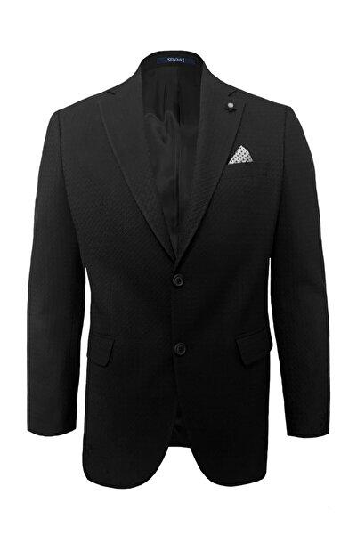 SÜVARİ Rahat Kalıp Desenli Siyah Ceket