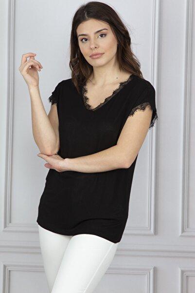 Şans Kadin Siyah Dantel Detayli Bluz 26N13235