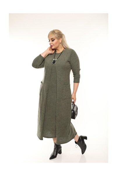 garajmood Haki Tek Parça Hırkalı Triko Elbise