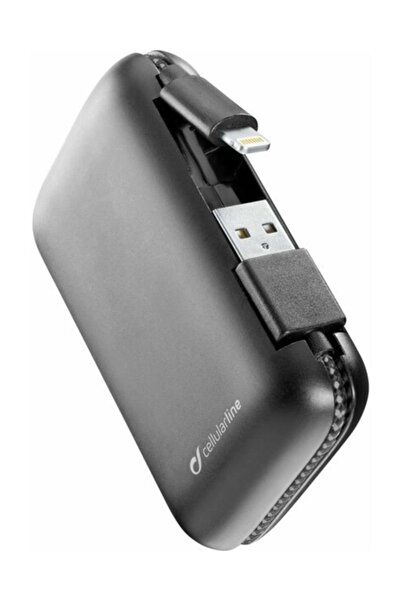 Cellular Line Cellularline Freepcab5mfııphk Powerbank Mfı 5000 Mah, Entegre Lightning Ve Usb-a Kablo