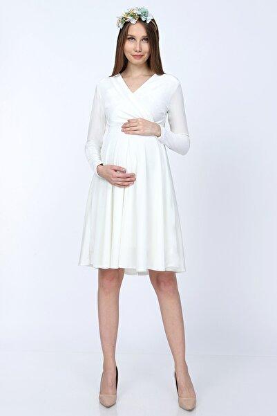 Moda Labio Kadife Kısa Hamile Elbisesi Beyaz