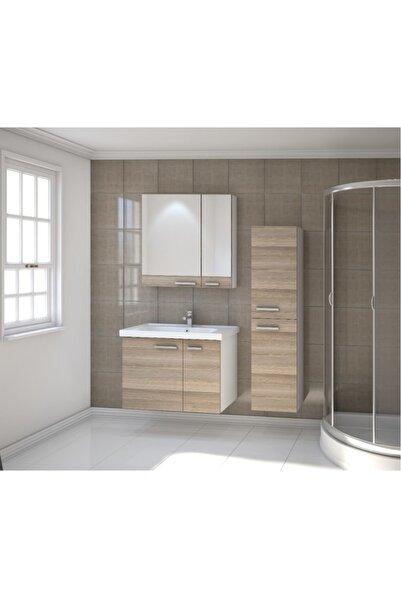 Kare Banyo Kare Terra Serisi 80 Cm Mdf Banyo Dolabı Takımı + Seramik Lavabo(boy Dolabı Hariç)