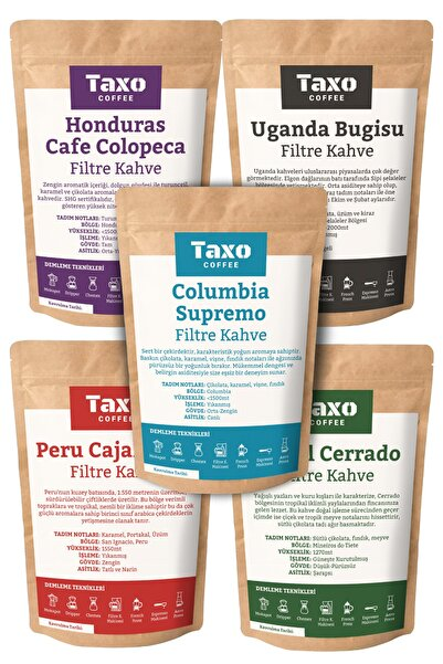 Taxo Coffee Taxo Yöresel Filtre Kahve Deneme Seti 5x100gr (Öğütülmüş)