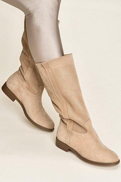 Elle Shoes JEM Hakiki Deri Bej Kadın Cızme