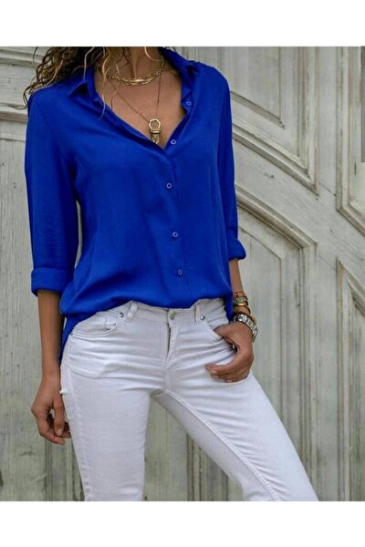 FancyWorld Düz Renk Dokuma Viskon Kumaş Efsane Basic Gömlek Saks Mavi