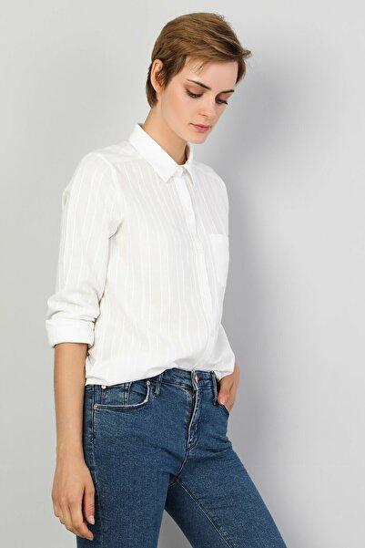 Colin's Regular Fit Kadın Beyaz Uzun Kol Gömlek