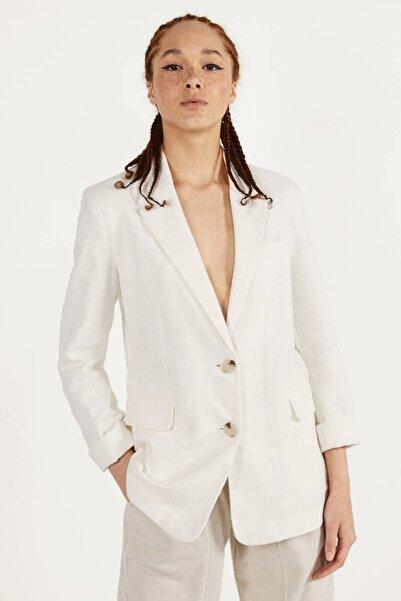 Bershka Kadın Beyaz Keten Blazer 00979200