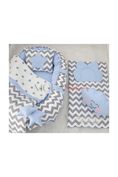 Babynest Gri Zigzag Ve Bebek Mavisi Tasarım Ve Altaçma Set Bebek Yuvası