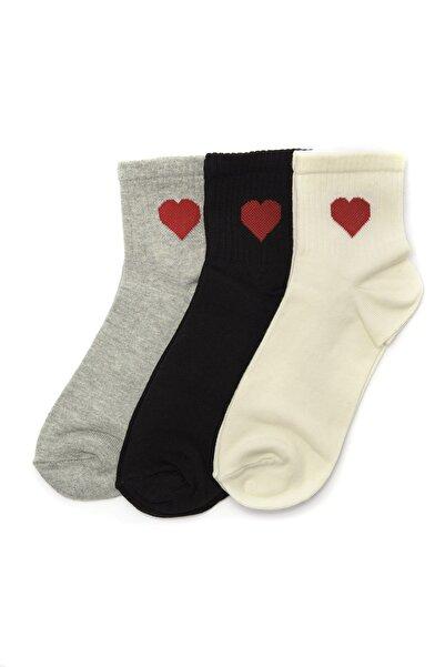 TRENDYOLMİLLA Siyah Desenli 3'lü Örme Çorap Çorap TWOSS20CO0032
