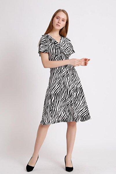 Deppoist Kravuze Yaka Örme Elbise