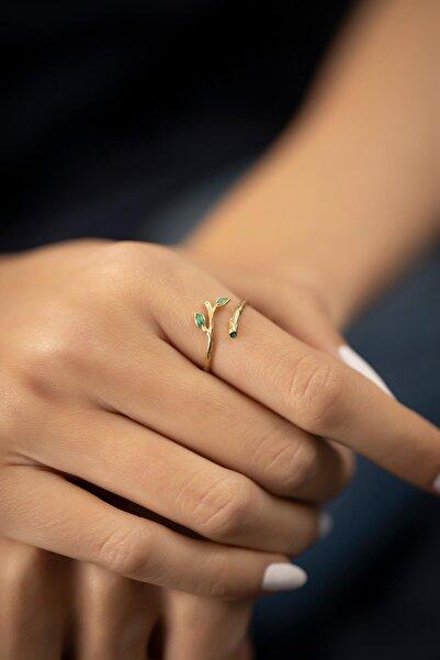 İzla Design Sarmaşık Model Mineli Altın Kaplama Gümüş Italyan Yüzük