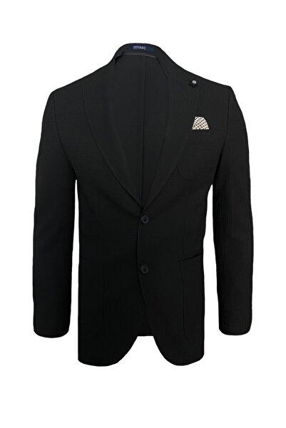 SÜVARİ Erkek Siyah Dar Kalıp Desenli Ceket