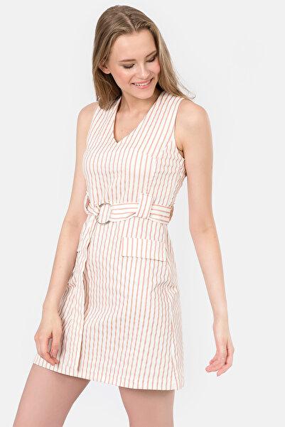 İroni Kadın Pudra Çizgili V Yaka Kolsuz Elbise 5172-1243