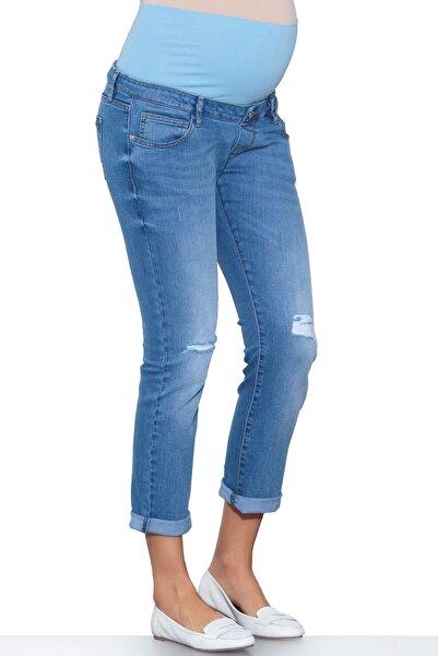 Ebru Maternity Ebru Yırtık Hamile Jean Pantalon Mavi