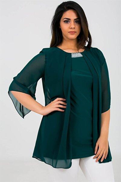 By Saygı Kadın Yakası Boncuklu Üstü Şifon Likra Bluz Yeşil S-19Y1040005
