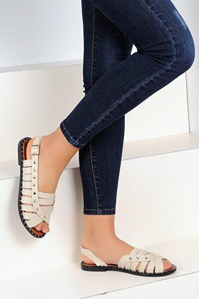 Pembe Potin Bej Kadın Sandalet A1110-19