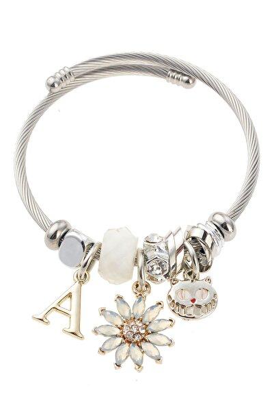 Pelin Aksesuar Kadın Krem Çiçek Kedi Figürlü Silver Bileklik