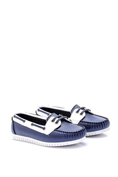 Derimod Beyaz Lacivert Kadın Loafer Ayakkabı