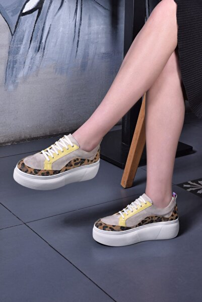 Jeep Bej Leopar Kadın Spor Ayakkabı 9Y2SAJ0004