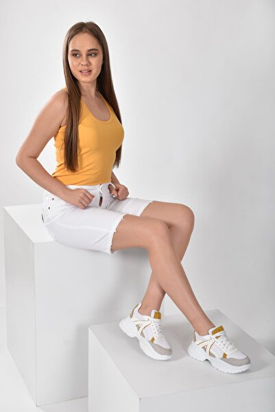 Jeep Beyaz Sarı Kadın Spor Ayakkabı 9Y2SAJ0006