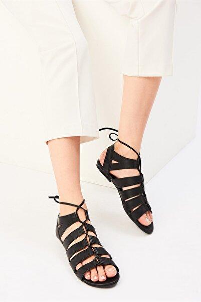 İnci Hakiki Deri Siyah Kadın Sandalet 120120080010