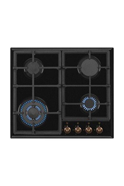 Simfer 3323 Rustik Wok Gözlü Siyah Emaye Ankastre Ocak