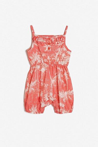 Koton Kids Kırmızı Kız Bebek Desenli Tulum