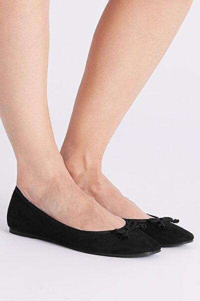 Marks & Spencer Kadın Siyah Fiyonk Detaylı Babet Ayakkabı T02005774A