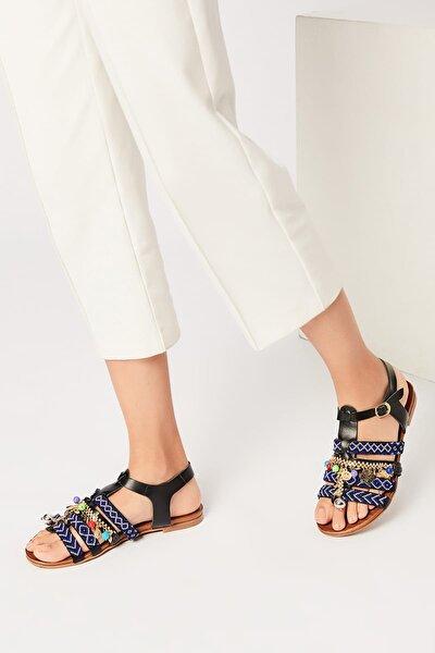 İnci Hakiki Deri Siyah Kadın Sandalet 120120083010