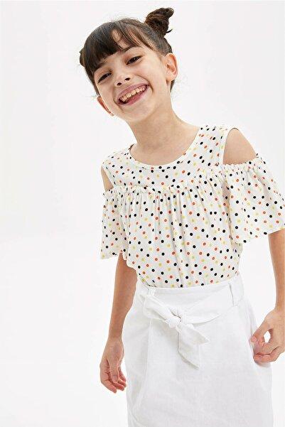 DeFacto Kız Çocuk Puantiye Desenli Kısa Kollu Bluz