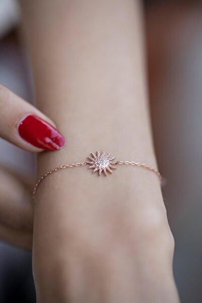 İzla Design Kadın Güneş Model Zirkon Taşlı Rose Kaplama Gümüş Bileklik İZLASLVR00349
