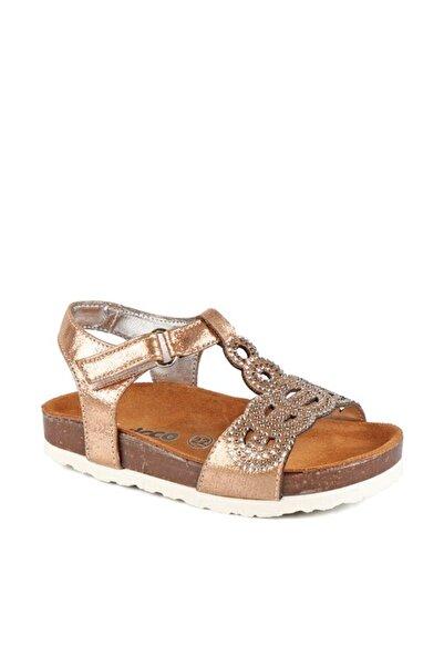 Vicco Deri Örgü Desenli Bronz Rengi Sandalet