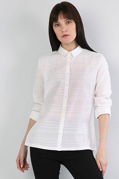 Colin's Slim Fit Shirt Neck Kadın Beyaz Uzun Kol Gömlek