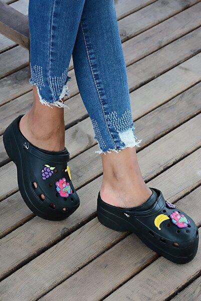 Pembe Potin Siyah Kadın Sandalet A246-19