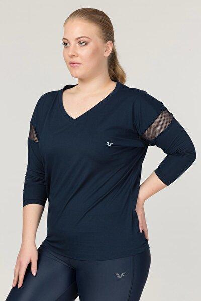bilcee Büyük Beden Lacivert Kadın Antrenman T-Shirt FS-1769