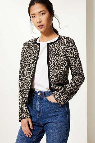 Marks & Spencer Kadın Siyah Mix Leopar Desenli Blazer Ceket T59001042J