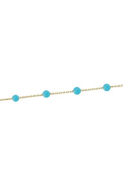 Glorria Kadın Altın Turkuaz Taşlı Bileklik DM0050-T