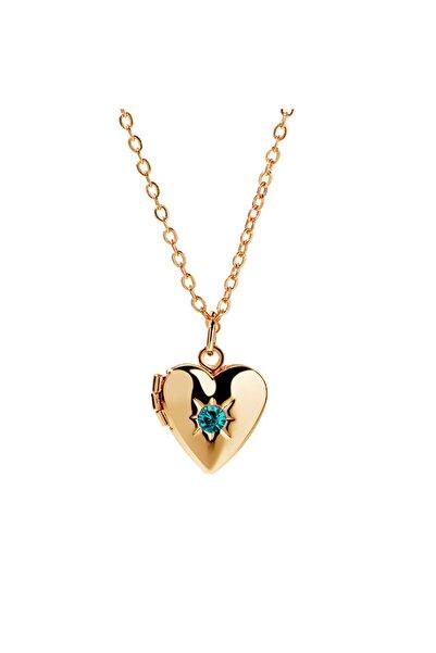 Chavin Kadın İçi Açılan Zincirli Taşlı Mini Kalp Kadın  Kolye ehy-eb56