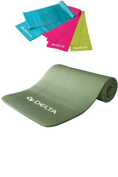 Delta 1 Cm Pilates Minderi, 3 Lü Pilates Bandı Plates Lastiği Seti 10mm Yoga Pilates Matı Minder