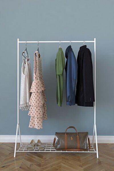 Remaks Loft 1 Raflı Metal Portmanto Ayaklı Elbise Askısı Ve Konfeksiyon Askılık - Beyaz