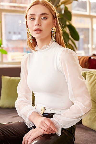 Olalook Kadın Beyaz Yaka Detaylı Kolu Tül Bluz BLZ-19000661