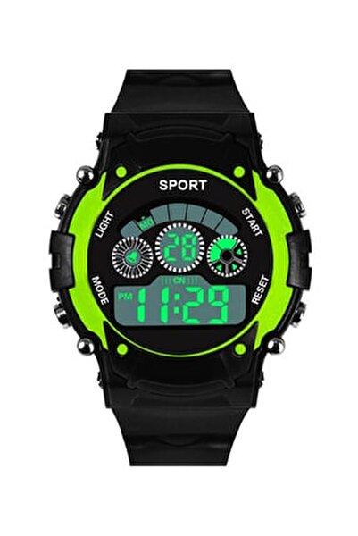 Dijital Yeşil Spor Çocuk Kol Saati Takvim Renkli Işık