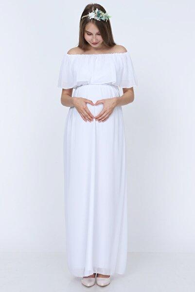 Moda Labio Şifon Düşük Omuz Hamile Elbisesi Beyaz